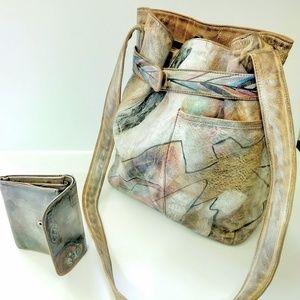 Vintage Jane Yoo graffiti leather bag + wallet